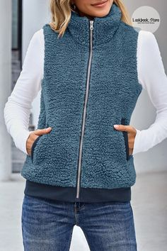 Winter Style // Look incredibly stylish while feeling so cozy in this royal blue sherpa fleece vest. Shop it here. Fleece Vest, Winter Style, Cold Weather, Royal Blue, Zip Ups, Diva, Winter Fashion, Dressing, Cozy