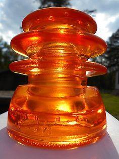 Antique Glowing Orange Glass Insulator --- Hemingray 56 CD # 203