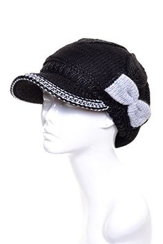With a feminine touch, this wool blend beanie visor cap with a contrasting bow has oh so sweet appeal. Lined in a chenille plush fleece, stay warm and stylish t Best Winter Hats, Warm Winter Hats, Winter Hats For Women, Women Hats, Knitted Beret, Visor Cap, Black Nylons, Beanie Hats, Me Too Shoes
