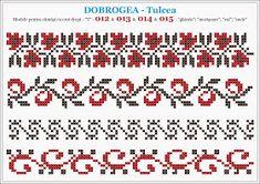 Semne Cusute: modele pentru camasi - DOBROGEA - Tulcea Cross Stitch Geometric, Cross Stitch Borders, Cross Stitch Flowers, Cross Stitching, Cross Stitch Patterns, Folk Embroidery, Cross Stitch Embroidery, Embroidery Patterns, Peyote Beading Patterns