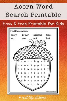 Acorn Word Search Printable - Easy Word Search Puzzle for Kids