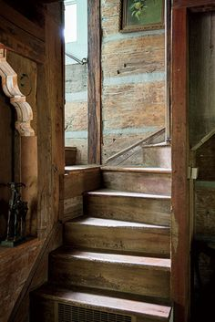 Braxton Dixon 's home. A staircase in the main house, made of antebellum poplar. Wooden Stairs, Cabins And Cottages, Stairway To Heaven, Cabins In The Woods, Interior Exterior, Interior Design, Maine House, Log Homes, Stairways