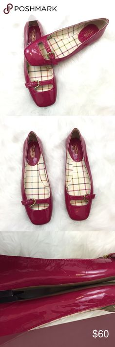 8️⃣COACH Raspberry Color Buckle Flats Get these COACH flats!  These are a lush raspberry color just right for fall.  These have been gently worn a couple of times.  There are small tiny holes present from security tags.  These are in fantastic condition!  Get this now!  The will go fast! Coach Shoes Flats & Loafers