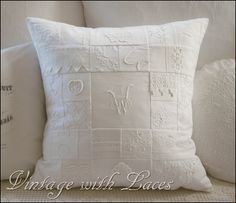 Monogrammed pillow from Vintage With Laces