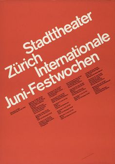 Swiss Poster Design - Juni–Festwochen Design by Josef Müller-Brockmann. Why does this work? Design Typography, Design Logo, Typography Inspiration, Graphic Design Inspiration, Layout Design, Web Design, Design Styles, International Typographic Style, International Style