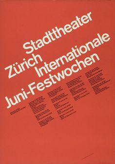 Swiss Poster Design - Juni–Festwochen  Design by Josef Müller-Brockmann