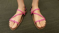 Want to make your own sandals? Try this cool tying style combines the best of huarache style running sandals and Chaco or Teva style sport sandals...