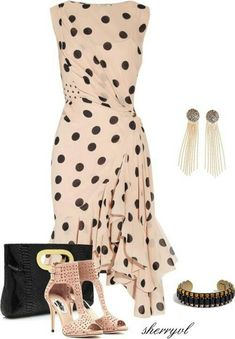 Polka-dot silk-georgette dress by NIna Ricci Classy Outfits, Chic Outfits, Dress Outfits, Fashion Outfits, Womens Fashion, Mode Chic, Mode Style, Cute Dresses, Beautiful Dresses