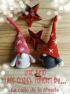 "La calle de la abuela: Little ""Fino"". A free amigurumi Christmas gnome pattern- Grandma's street: Little ""Fino"". A free amigurumi Christmas gnome pattern- # grandmother Crochet Crafts, Yarn Crafts, Crochet Projects, Free Crochet, Crochet Ideas, Crochet Christmas Decorations, Holiday Crochet, Crochet Patterns Amigurumi, Crochet Dolls"