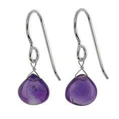 Ashanti Sterling Silver Amethyst Gemstone Handmade Earrings (Sri Lanka)
