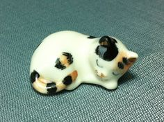 Miniature Ceramic Cat Kitty Sleeping Animal Cute Little Tiny Small White Orange Black Figurine Statue Decoration Hand Painted Collectible