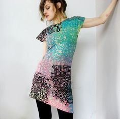 Geometric Dress - Asymmetrical Dress - Mod Mini Dress - Organic Cotton Jersey Dress  by Misskarret