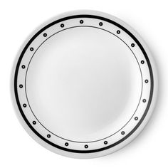 Corelle Livingware Black and White Beads inch Plate, Set of 6 inch White Dinnerware, Dinnerware Sets, Corelle Dinner Set, Black And White Plates, Black White, Corelle Plates, Porcelain Mugs, Stoneware Mugs, Graphic Patterns