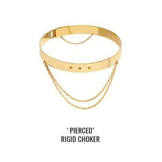 'Pierced' rigid choker: a rigid choker with studs details and dangling chains. Closing with spring lock and secure chain at the back. Body Modifications, Body Piercing, Chains, Studs, Chokers, Jewels, Spring, Collection, Asparagus