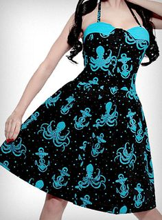 I'm pretty sure if I don't get this dress, I will die a horrible death.  Out to Sea Octopus Dress | PLASTICLAND