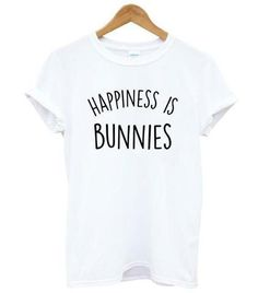 TShirt Happiness Is Bunnies Letter Print Funny T Shirt Women Summer Casual Loose Tees Drop Ship Color black Size S Bunny Supplies, Llama Shirt, Trendy Summer Outfits, Shirts With Sayings, Printed Shirts, Funny Tshirts, Shirt Designs, T Shirts For Women, Happiness
