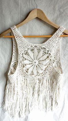 Cotton crochet vest crochet waistcoat ivory by PoppyBlueCrochet