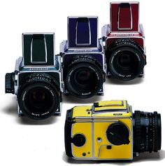 Remember these lovelies? The Hasselblad 501CM and 503CW special editions, in Sun Yellow, Forest Green, Ruby Red and Cobalt Blue. Wish I'd had the dough to pick one up while they were still in production. (gilghitelman.com)