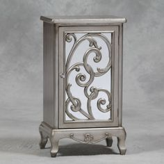 Antique Silver Rococo Cabinet with Mirror Door and Crystal Handle