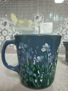 A Blue Ceramic Cup Hand Painted in an Original by FolkArtByNancy, $12.00