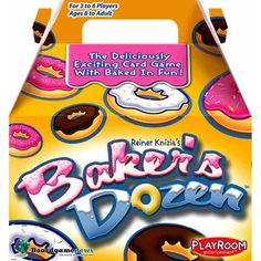 Sort the different kinds of donuts to form a Baker's Dozen in this clever family card game. Players choose a donut card from their hand to add to one of three piles, being careful not to let the total go over a value of 13.  $13.99  http://www.calendars.com/Card-Games/Bakers-Dozen-Card-Game/prod201000010205/?categoryId=cat430010=cat430010#