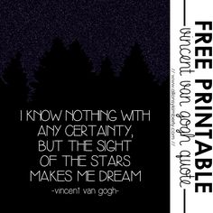 Free Printable: Vincent Van Gogh Quote | allonsykimberly.com