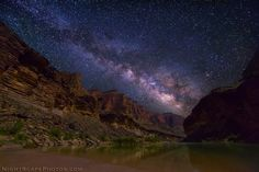 Milky Way spanning over Grand Canyon and Colorado River during a narrow window of opportunity ~ Photography by nightscapephotos.com
