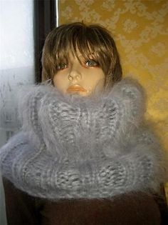 Thick Mohair sweater Cowl-Neck T-neck  Warmer SCARF TUBE Gray