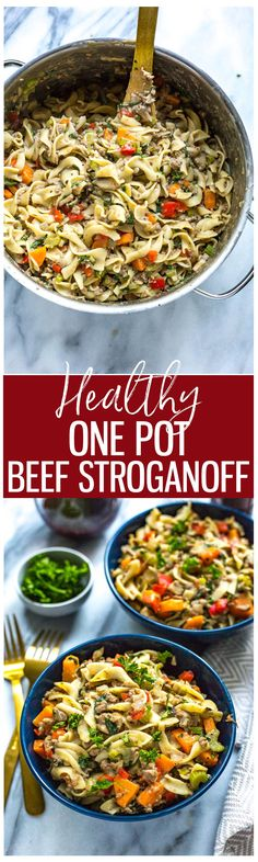 ThisHealthy One Pot Beef Stroganoff is a delicious 30-minute dinner idea that is also freezer-friendly. Packed with veggies, this lightened-up stroganoff is perfect for busy weeknights!