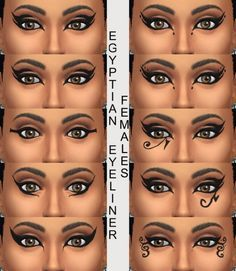 Good resource for types of eyeliner. Source: 10 Egyptian Eyeliners by Simmiller at Mod The Sims via Sims 4 Updates Egyptian Eye Makeup, Egypt Makeup, Cleopatra Makeup, Egyptian Party, Egyptian Costume, Cleopatra Costume, Greek Makeup, Egyptian Eye Tattoos, Egyptian Era