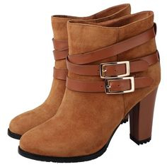 Guoar Women's High Heel Block Bootie Big Size High Top Shoes Buckle Suede Ankle Boots for Casual Party Dress: Amazon.co.uk: Shoes & Bags