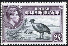 Stamp: Dusky Scrubfowl (Megapodius freycinet) (Solomon Islands) (King George VI Issues (1939-51)) Mi:SB 69,Sn:SB 77