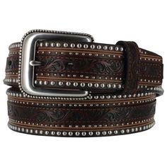 Tony Lama Men's Jagged Rail Western Leather Belt
