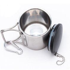 Durable Folding Handle Mug With Self-Lock Carabiner