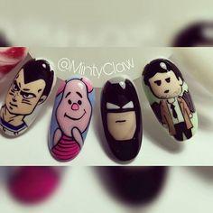 #paznokcie #nails #manicure #gelnails #mintyclaw #cartoonnails #supernatural #castiel #piglet #batman @misha