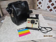 Vintage Polaroid OneStep Land Instant Camera White Rainbow Stripe with Instruction Booklet & Case by EvenTheKitchenSinkOH on Etsy