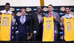 The Lakers introduced rookies Kyle Kuzma, Josh Hart and Thomas Bryant on Thursday.