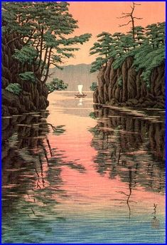 Ito Takashi, Lake Towada, 1932  I love Art that takes you away from your present status and helps you to escape to a simpler time and place. This does that for me.