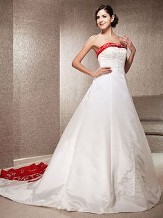 Wedding Dress A Line Chapel Train Satin Strapless With Embroidery Beading | LightInTheBox