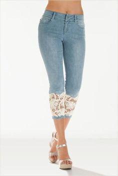 Buy 2018 Women Light Blue Denim Crochet Lace Skinny Legs Stretch Pencil Lace Jeans Short at Wish - Shopping Made Fun Lace Jeans, Jeans Denim, Denim And Lace, Trouser Jeans, Cropped Trousers, Denim Cap, Plaid Pants, Linen Pants, Blue Denim