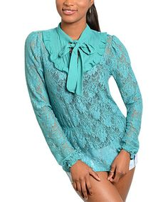 This Jade Sheer-Lace Tie-Neck Top is perfect! #zulilyfinds