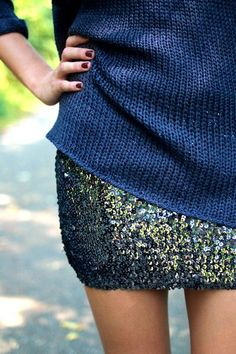 A touch of glam with a little sparkle sequin skirt!