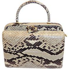 Pre-owned Judith Leiber  Python Snake skin  Rare Bag ($1,175) ❤ liked on Polyvore featuring bags, handbags, handbags and purses, top handle bags, snakeskin purse, change purse, white purse, snake print handbag and python purse