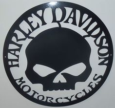 Harley Skull, Black, Metal Wall decor, Metal Art