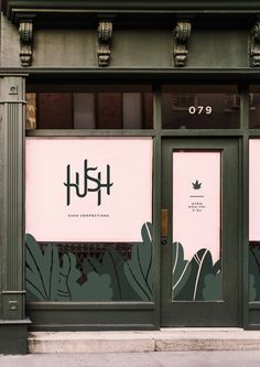 Hush: Kush Confections (Concept) on Behance Storefront Signage, Window Signage, Shop Signage, Signage Design, Design Café, Facade Design, Store Design, Window Stickers, Window Decals