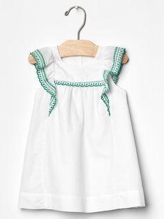 Embroidered flutter dress