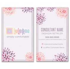 f52a5ea21d9f4 LuLaRoe Business Card - Watercolor Flowers - purple