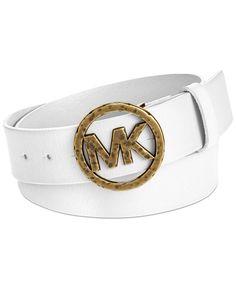 cc730d1d4 MICHAEL Michael Kors Hammered MK Logo Buckle Belt & Reviews - Handbags &  Accessories - Macy's