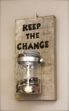 Reclaimed Barnwood - Keep The Change Laundry Coin Keeper - Laundry Room Sign…