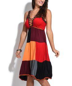 Look at this #zulilyfind! Red & Black Patch Empire-Waist Dress #zulilyfinds